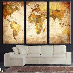 3 Paneles Vintage World Map Canvs Jadeando En Canas Home Decor Pared Pintura Pintura Al Óleo Cuadro de la Pared Para la Sala de estar