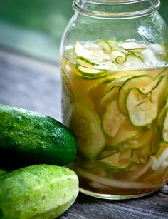 Raw pickles...bread and butter pickles. This recipe is so simple and looks amazing.  Great one to try with this summers cucumbers!