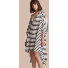 32912287cde73f Burberry Striped Cotton Silk Kaftan (€520) ❤ liked on Polyvore featuring  tops
