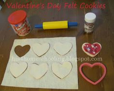 H is for Homeschooling: Felt Valentine Cookies  I want to do the other one listed here that involves sewing, but incorporate the sprinkles, and other accessories in this one.  What a cute combo that would be!