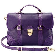 Aspinal of London Mollie Satchel Handbag , Purple ($745) ❤ liked on Polyvore
