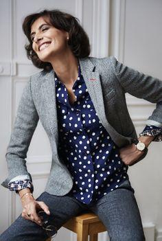 ines de la fressange uniqlo autumn winter 2014, grey tweed jacket, parisienne chic, grown up clothing, french chic, style blog, grey chic