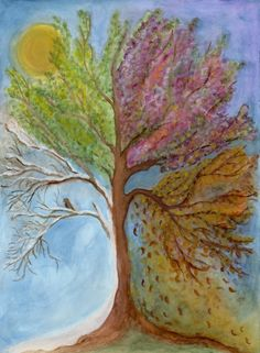 seasons (link to article on Edmonton Waldorf School philosophy (school in public system) Rudolf Steiner, Chalkboard Drawings, Chalkboard Art, Painting & Drawing, Watercolor Paintings, Tree Paintings, Lazure Painting, Waldorf Montessori, Waldorf Math