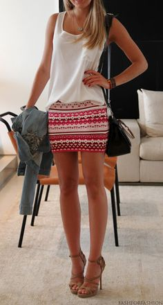 bright printed skirt & nude heels