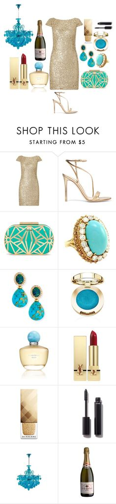 Something Blue by pulseofthematter on Polyvore featuring Adrianna Papell, Gianvito Rossi, ALDO, Rina Limor, Yves Saint Laurent, Burberry, Chanel, Oscar de la Renta and Cyan Design