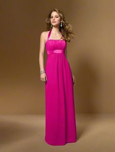 Alfred Angelo hot pink (fuschia) long bridesmaid dress