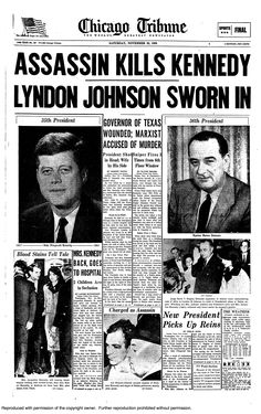 President Kennedy assassinated, 1963.