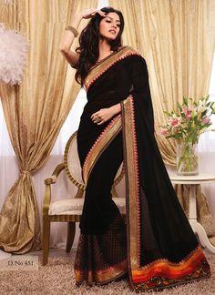 Indiansareestore.com Offer black traditonal saree with reasonable price.  Visit: http://www.indiansareestore.in/sarees