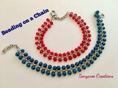 Beaded Chain Bracelet.Beading on a chain - YouTube