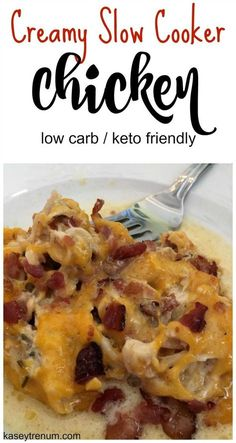 Creamy Slow Cooker Bacon, Chicken & Cheese - it doesn't get much better than this 3-ingredient combo in this low carb and keto recipe.