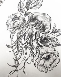 Jellyfish #flowers #linework #dotwork #sketch