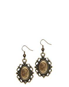Brass Antique Portrait Earrings