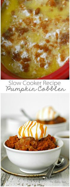 Slow Cooker Pumpkin Cobbler Recipe for Thanksgiving #pumpkindesserts #CrockPot #SlowCooker