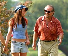 Krista Allen & Jack Nicholson during Jack Nicholson, Adam Sandler, Marisa Tomei & Krista Allen On Location for Anger Management at Central Park in New York City, New York, United States.