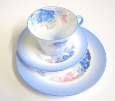 Gorgeous Art Deco Shelley China Tea Trio Blue by TheWhistlingMan SOLD