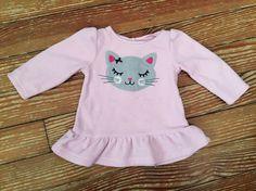 Carter's 12 months pink kitty long sleeve fleece tunic