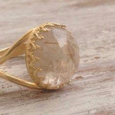 Gold citrine november birthstone ring