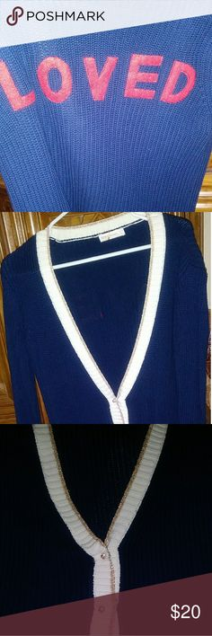 """🌟Clearance $11 Trendy Cardigan Color: Navy, Red, Off White, Gold Glitter """"Loved"""" on the back Pearl/Gold Buttons Gold glitter trim Like New condition but I noticed a slight spot on the back collar area.  That is why the price is low.  See the pictures. Hair will most likely cover it. Jackets & Coats"""