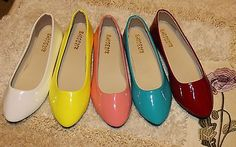 Sweet Shinny Fluorescence Color Ballet Flat Shoes[5.5,Yellow]