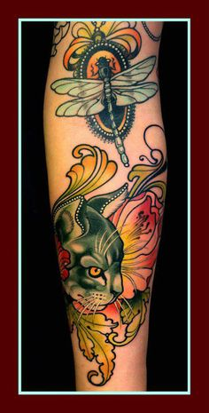 """Tattoo by Lars """"Lu's Lips"""" Uwe. Beautiful colors and details. Cat & Dragonfly"""