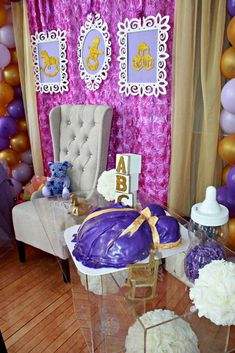Purple and gold baby shower party! See more party planning ideas at CatchMyParty.com!