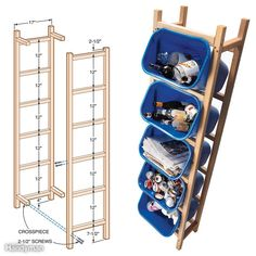 Five plastic containers, six 2x2s and screws, and one hour's work are all it takes to put together this space-saving recycling storage rack. Our frame fits containers that have a top that measures 14-1/2 in. x 10 in. and are 15 in. tall. Our containers were made by Rubbermaid. If you use different-size containers, adjust the distance between the uprights so the 2x2s will catch the lip of the container. Then adjust the spacing of the horizontal rungs for a snug fit when the container is…