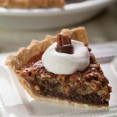 Black-Bottom Pecan Pie. Chocolate-covered pecans and vanilla whipped cream top this decadent pie with a bottom layer of chocolate.