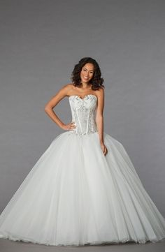 Sweetheart Princess/Ball Gown Wedding Dress  with Dropped Waist in Tulle. Bridal Gown Style Number:32848210