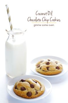 This easy Coconut Oil Chocolate Chip Cookies recipe makes the BEST thick, soft and chewy chocolate chip cookies!