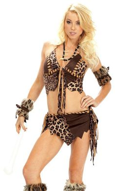 Womens Sexy Cave Woman Prehistoric Savage Halloween Costume Top Skirt Outfit | eBay