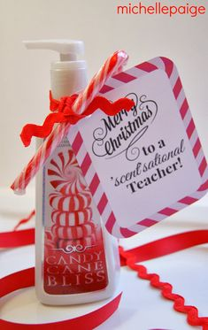 Miichelle paige: Quick Teacher Gift for Christmas. Bath & Body Works Candy Cane soap or handcream would work.