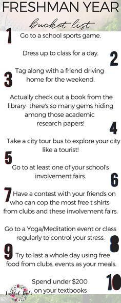 things to do freshman year advice- check out these activities for your freshman year experience! freshman year bucket list printable for your college dorm room. College Freshman Tips, First Year Of College, Highschool Freshman, College Life Hacks, High School Hacks, Life Hacks For School, Freshman Year, College Grants, Clown College