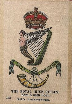 ROYAL IRISH RIFLES - Silk cigarette card, issued by Godfrey Phillips, England 1915 Rifles, Nice Body, Badges, Irish, England, Bird, History, Beautiful Body, Irish People