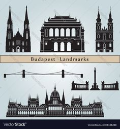 Budapest landmarks and monuments isolated on blue background in editable file. Download a Free Preview or High Quality Adobe Illustrator Ai, EPS, PDF and High Resolution JPEG versions.