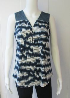 Patterned Zip Tank | The perfect summer tank to wear with your white slim capris.  Blue patterned detail with zipper front.  94% Polyester/6% Spandex.  Sizes S-XL. | Willy & Babbish Boutique | New Baltimore, MI