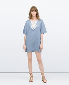 KAFTAN WITH GUIPURE LACE BIB FRONT