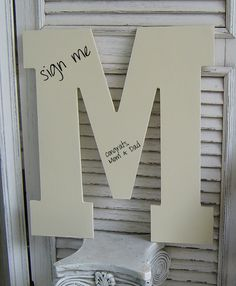 LARGE Alphabet WOOD Letters / Wedding Alternative Guest Book Sign In/ a b c d e f g h i j k l m n o p r s t u v w Typography  /  Pick Color by SundayTreasures on Etsy https://www.etsy.com/listing/110480867/large-alphabet-wood-letters-wedding