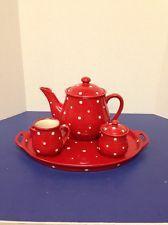 Temp-tations Red Polka Dot Coffee Tea Set Ovenware By Tara
