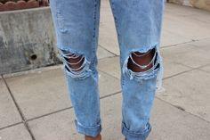Broken jeans.
