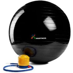 Max Fitness 75cm Exercise Ball with Foot Pump (Black) *** Want additional info? Click on the image. (This is an affiliate link) #ExerciseBallsAccessories