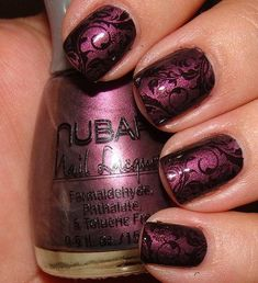 Purple damask nails. Nubar - Prevail, stamped with OPI - Black Onyx and Bundle Monster stamping plate BM21, then top coated.