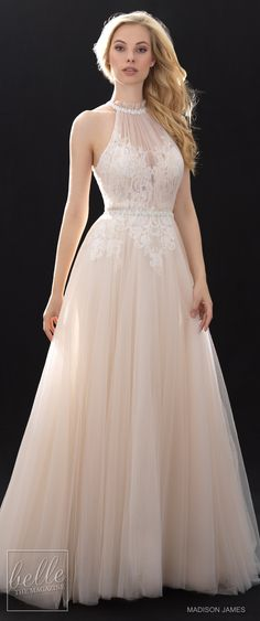 Bridal Trends - Halter Wedding Dress - Madison James Spring 2018 Ball Gown Wedding Dresses. Lace blush Wedding gown | High neck elegant bridal gown for the modern bride #weddingdress #weddingdresses #bridalgown #bridal #bridalgowns #weddinggown #bridetobe #weddings #bride #weddinginspiration #dreamdress #fashionista #weddingideas #bridalcollection #bridaldress #fashion #dress See more halter wedding gowns by clicking on the photo