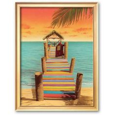 Art.com Tropicana Framed Art Print by Robin Renee Hix (505 RON) ❤ liked on Polyvore featuring home, home decor, wall art, multicolor, beach home accessories, handmade home decor, beach home decor, handmade wall art and wood wall art