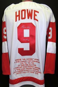 Gordie Howe Autographed Detroit Red Wings White Jersey with MR HOCKEY  Inscription and sewn on STATS fb96bd020