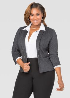 Tweed Double Breasted Blazer White button down shirt minimizes karge breast. Black And White Jacket, Black White, Plus Size Blazer, Plus Size Fashionista, White Button Down Shirt, Full Figured Women, Double Breasted Blazer, Great Legs, Curvy Girl Fashion
