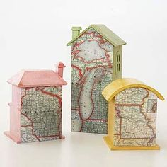 Play up the states you've called home. Decoupage a map of each state to one side of a small wooden house (available at crafts stores). Paint sides with colors pulled from maps. Group on a side table or other display spot.