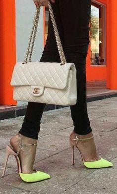 #summer #women's #shoes #inspiration | Neon + Gold Slingbacks