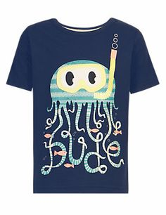 Navy Pure Cotton Jellyfish Appliqué T-Shirt, 2-3 years