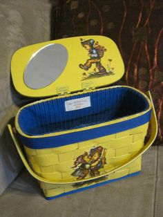 Vintage yellow painted woven wood basket yellow by lovinglola