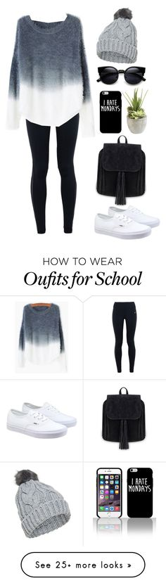 """➡️school sucks⬅️"" by sweethazeleyes on Polyvore featuring NIKE, Vans, Ethan…"